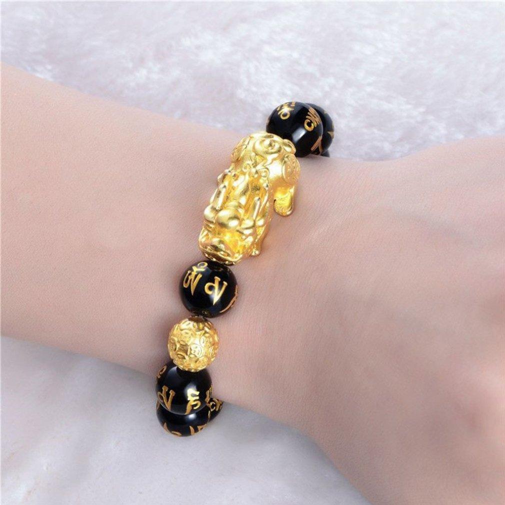Feng Shui Obsidian Stone Beads Bracelet Men Women Unisex Wristband Gold Black Pixiu Wealth and Good