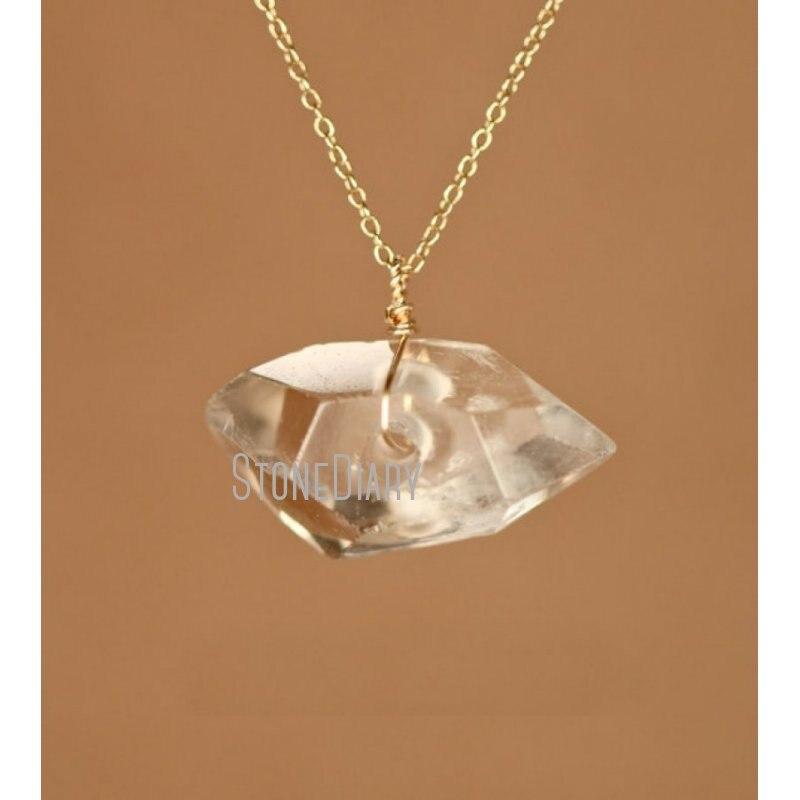 NM39910 شفاء كريستال قلادة سلك ملفوفة كريستال كوارتز الفضة أو الذهب سلسلة قلادة