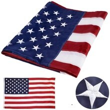 35.4X59 inch Embroidered American Flag Independence Day Outdoor USA Flag Waterproof Nylon Sewn Strip