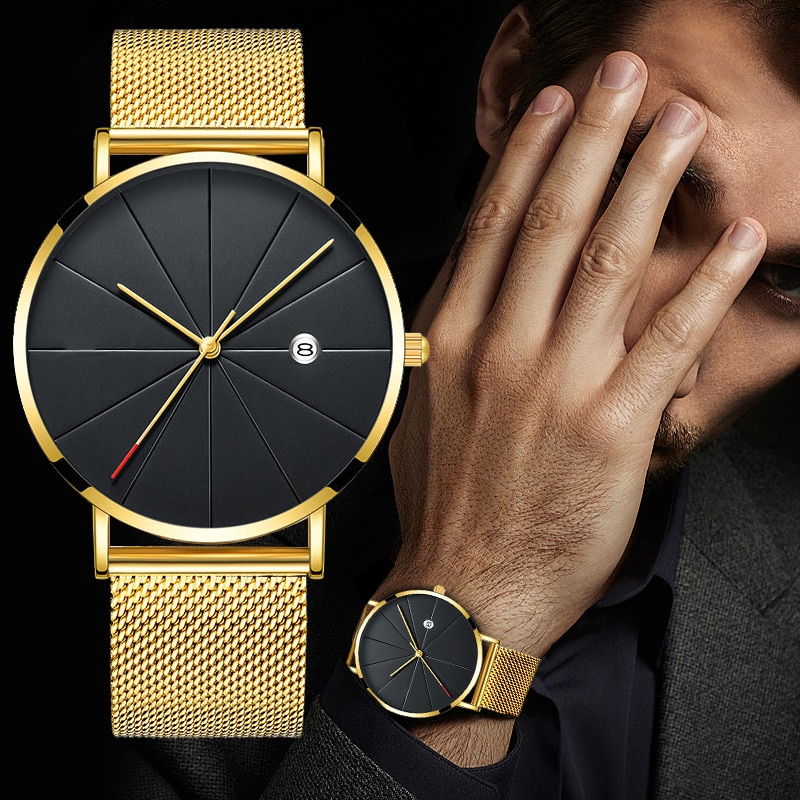 Luxury Fashion Business Clocks Men Super Slender Clocks Stainless Steel Mesh Belt Quarter Clocks Gold Clocks Men Gift 2020 будильник fashion clocks w60 hsd1140