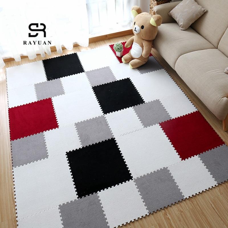 RAYUAN tapis de Puzzle coloré   En mousse EVA, tapis Shaggy, tapis de Puzzle en peluche, tapis de jeu pour enfants et bébés, décoration de la maison