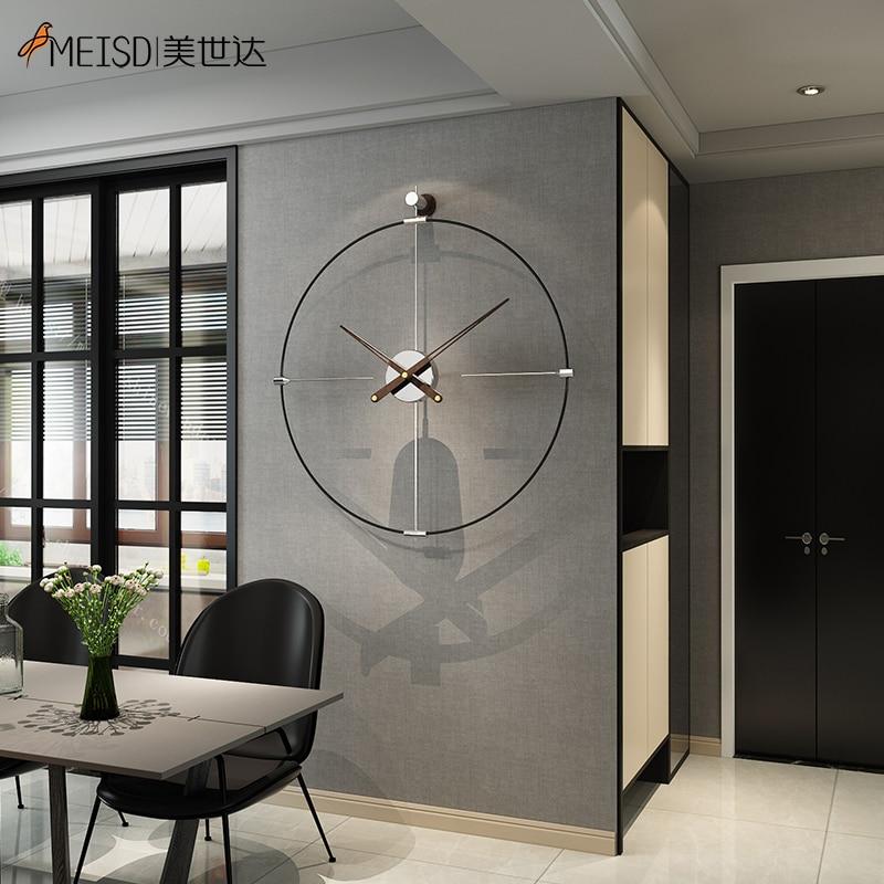 NEW Minimalist Metal Iron Silent Large Wall Clock Living Rommm Modern Design Home Decor Self Adhesive Watch Quartz Horloge MEISD
