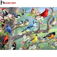 Huacan plein forage diamant peinture oiseau decoration de la maison point de croix broderie mosaique Animal arbre diamant Art