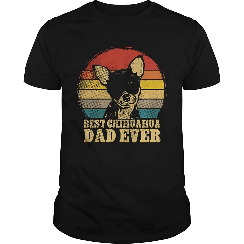 Vintage melhor chihuahua pai nunca camisa de manga curta t gráfico feminino masculino bonito popular mulher heather gráfico tshirt preto
