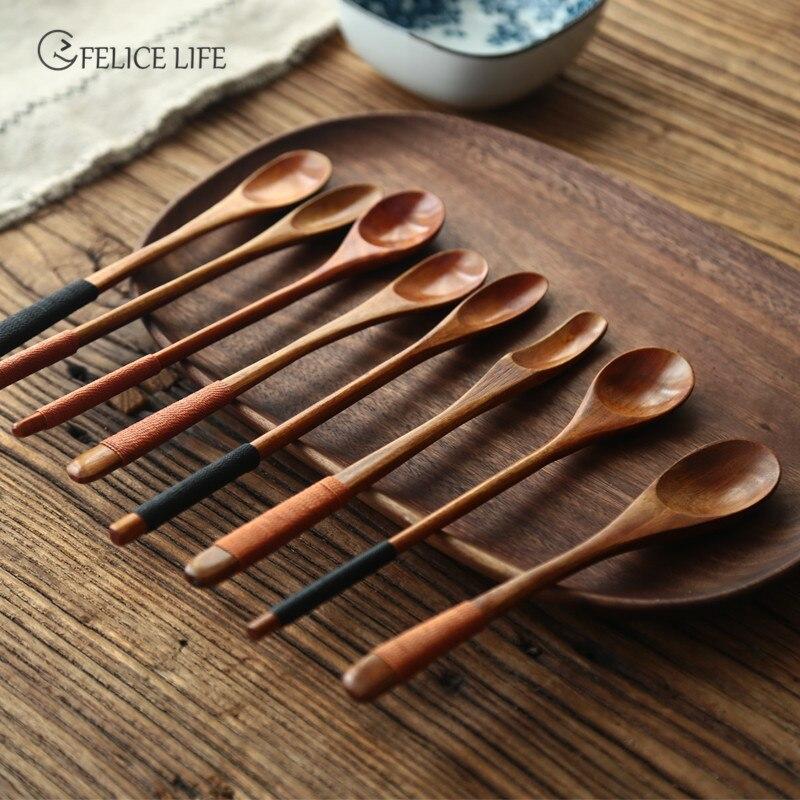 Colher de sopa de mel de leite de madeira maciça utensílios de mesa alça longa colher de chá colher de café mexa vara acessórios de cozinha