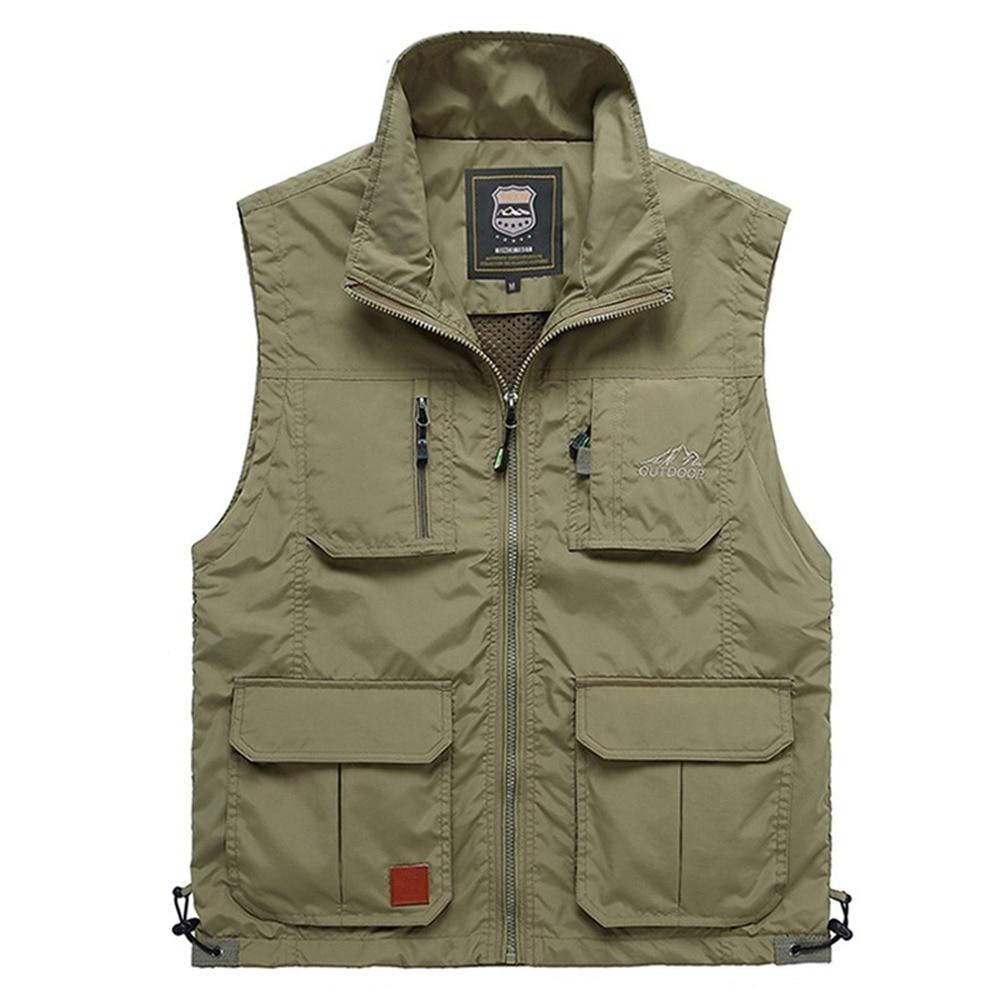 الصيف شبكة رقيقة متعددة جيب سترة للذكور حجم كبير الذكور عادية 4 ألوان جاكيت بلا إكمام مع جيوب كثيرة صدرية مراسل