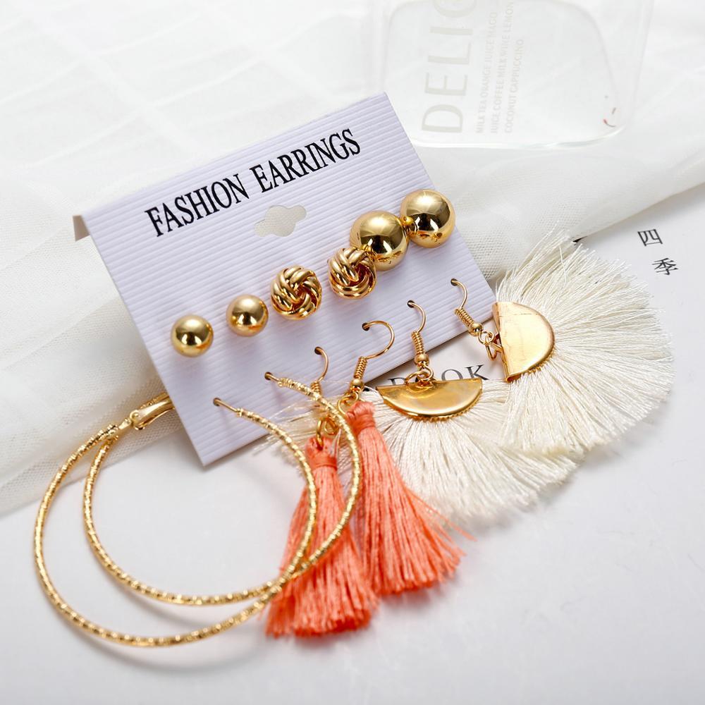 Un juego de pendientes largos de borla de acrílico para mujer, conjunto de pendientes bohemios, Pendientes colgantes grandes, joyería de moda femenina