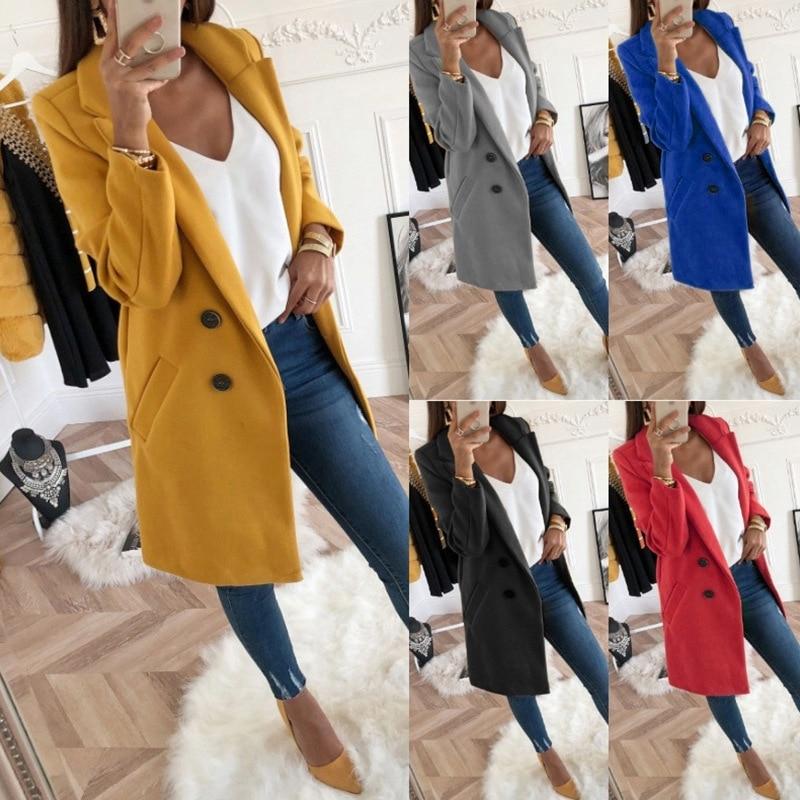 Women Long Woolen Coat Jackets Autumn Winter Women Double Breasted Elegant Coat Ladies Solid Pocket Slim Jackets Outwear 5XL