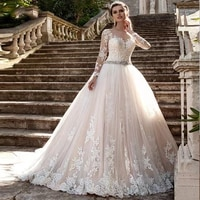 2021 long sleeve cheap lace white sweetheart ball gown wedding dresses princess beaded crystal bride gowns robe de mariee
