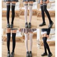 black white striped long socks for women girls autum over knee thigh high over the knee stockings warm knee socks medias