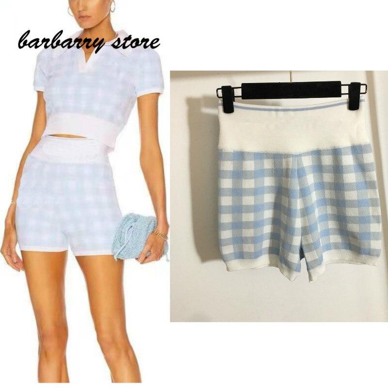 luxury design retro letter lattice fashion feminine temperament versatile slim stretch high waist knitted shorts wide leg pants