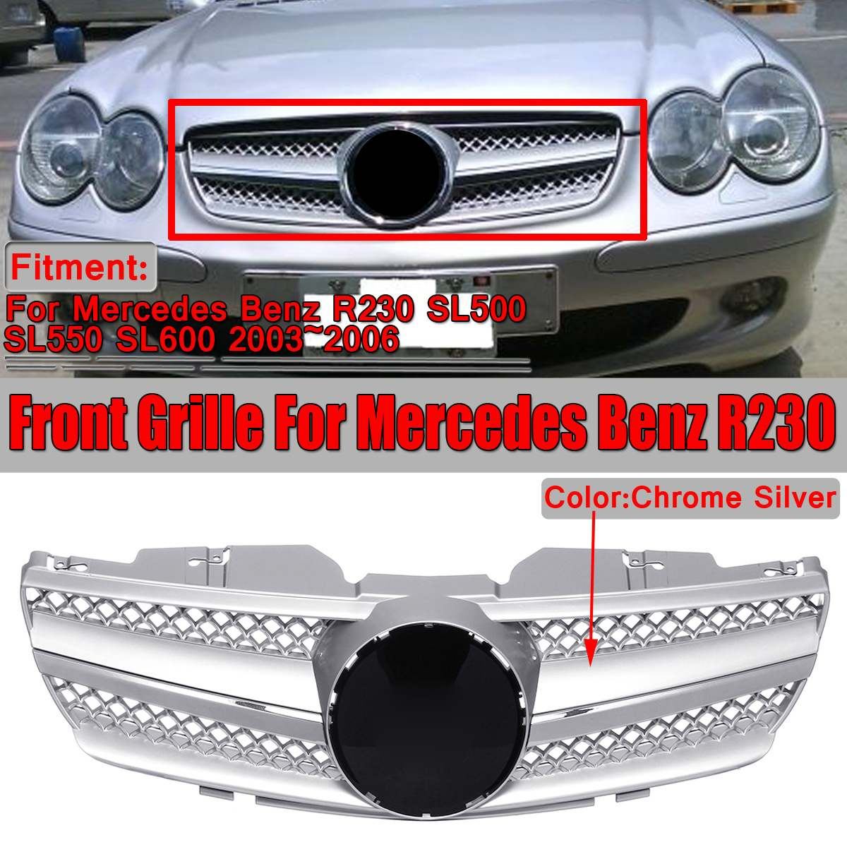 Nova R230 SL500 Grill Chrome Silver Car Amortecedor Dianteiro Grill Grille Para Mercedes Benz Para R230 SL500 SL550 SL600 2003 ~ 2006