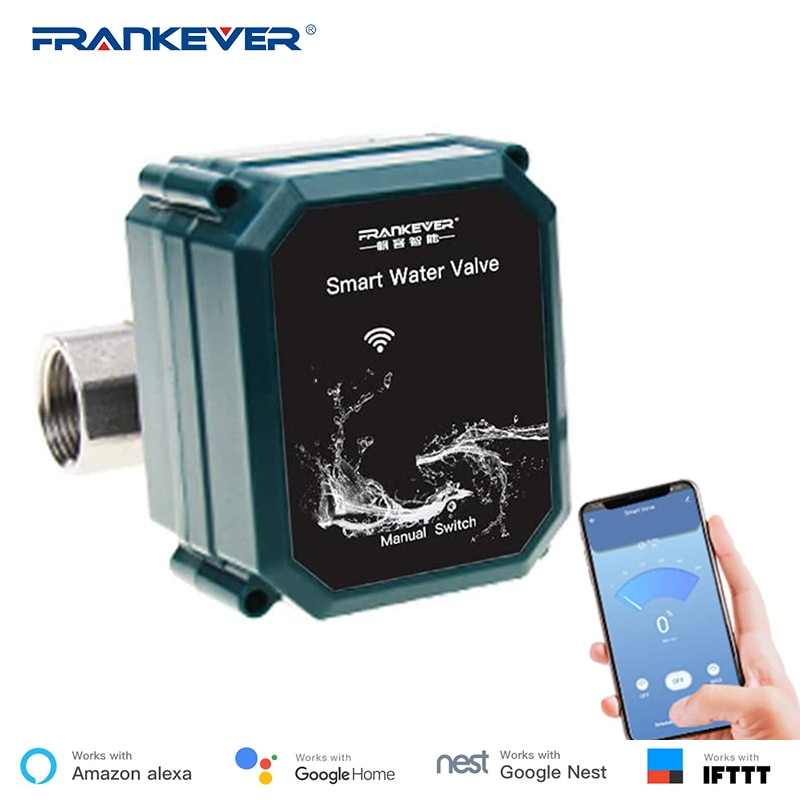 FrankEver válvula de agua inteligente Control remoto inalámbrico Control automático de agua válvula funciona con Alexa, Google Home, Siri Tuya APP