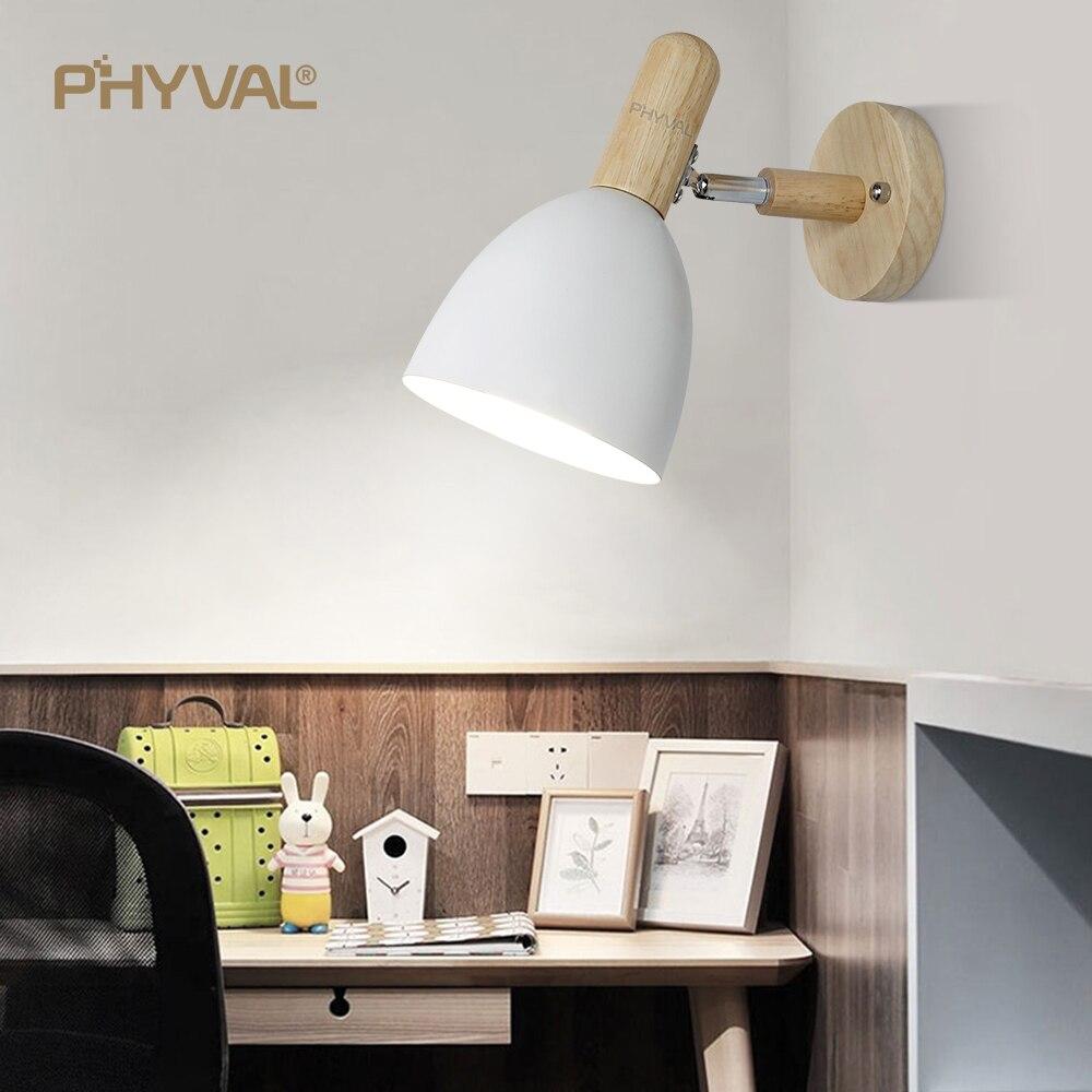 ¡Nuevo producto! PHYVAL lámpara de pared, lámpara moderna de madera, lámpara nórdica con Base pintada, lámpara de pared E27, lámpara de cama negra para sala de estar Romm blanca