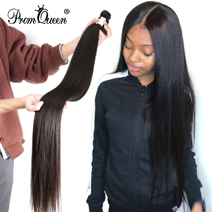 Promqueen Peruvian Human Hair Weave Bundles Straight 8-40inch 100% Human Hair Weave Bundles Natural