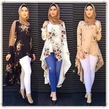 Femme smoking Style irrégulier musulman Abaya robe musulman musulman Blouse florale douce mince manteau hauts vêtements de mode arabe