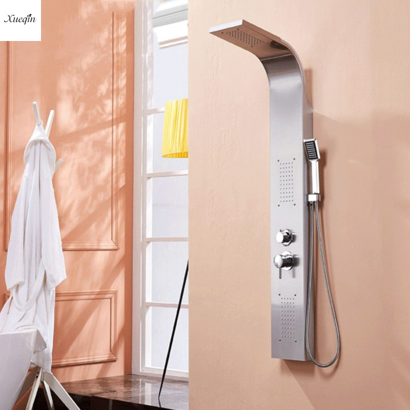 Panel de ducha de níquel cepillado bañera de Torre columna de ducha Torre lluvia cascada Sistema de masaje bañera de chorro grifo con ducha de mano
