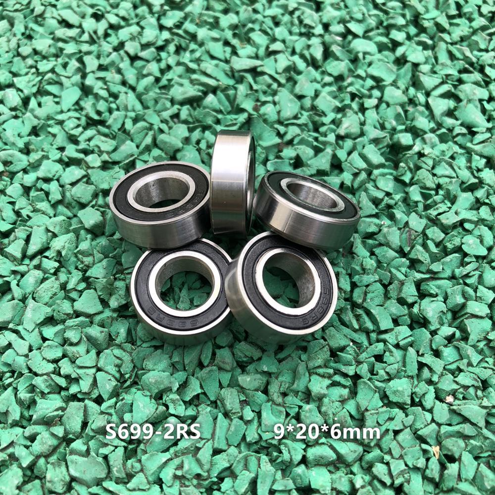 50 قطعة/الوحدة ABEC-3 S699-2RS 9x20x6 مللي متر S699RS مصغرة الفولاذ المقاوم للصدأ الكرة أخدود عميق محامل 9*20*6mm