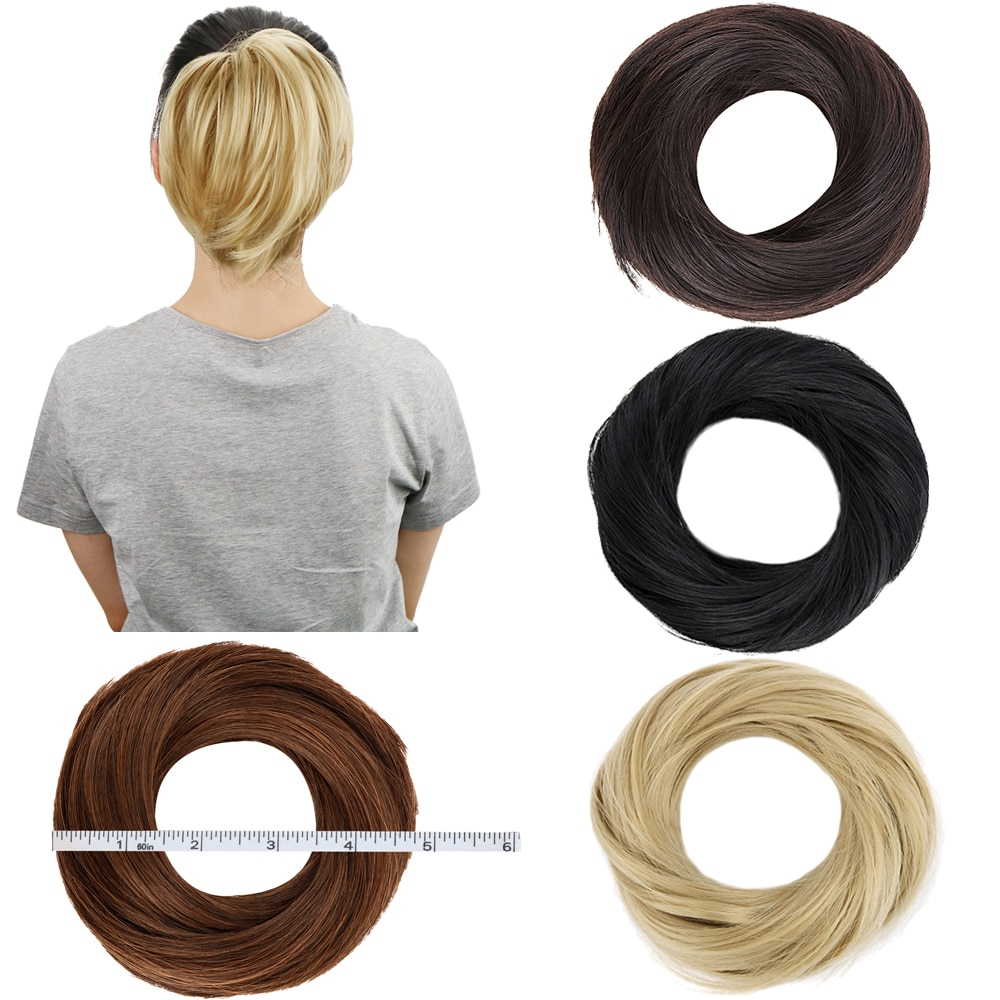 Free Beauty Donut Chignon Brown Blond Hazel Hair Bun Extensions Synthetic Doughnut Rubber Band Curly