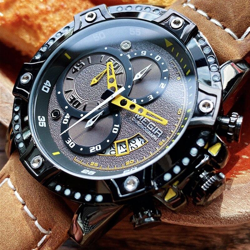 MEGIR-ساعة يد كوارتز إبداعية للرجال ، ساعة يد جلدية مقاومة للماء ، كرونوغراف رياضي فاخر للرجال