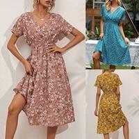 vintage floral print women summer dress 2021 casual v neck short sleeve a line chiffon beach midi dresses vestidos slim dress