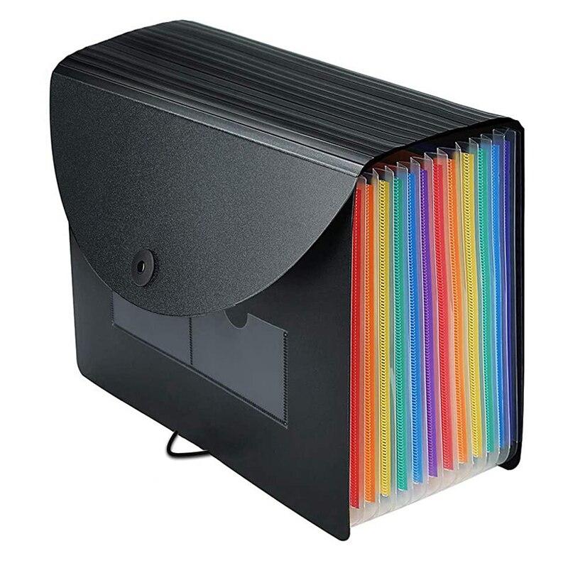 Carpeta de archivos en expansión, 12 bolsillos, organizador de archivos, archivador, carpetas de Billetes/documentos/recibos de acordeón A4 con pestañas de colores
