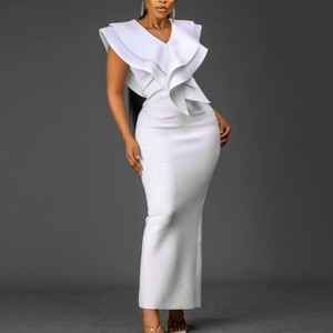 White Party Dress Women Slim Fit Sexy V Neck Sleeveless Bodycon Maxi Long Prom Dress Vintage Formal Dresses Plus Size Spring New