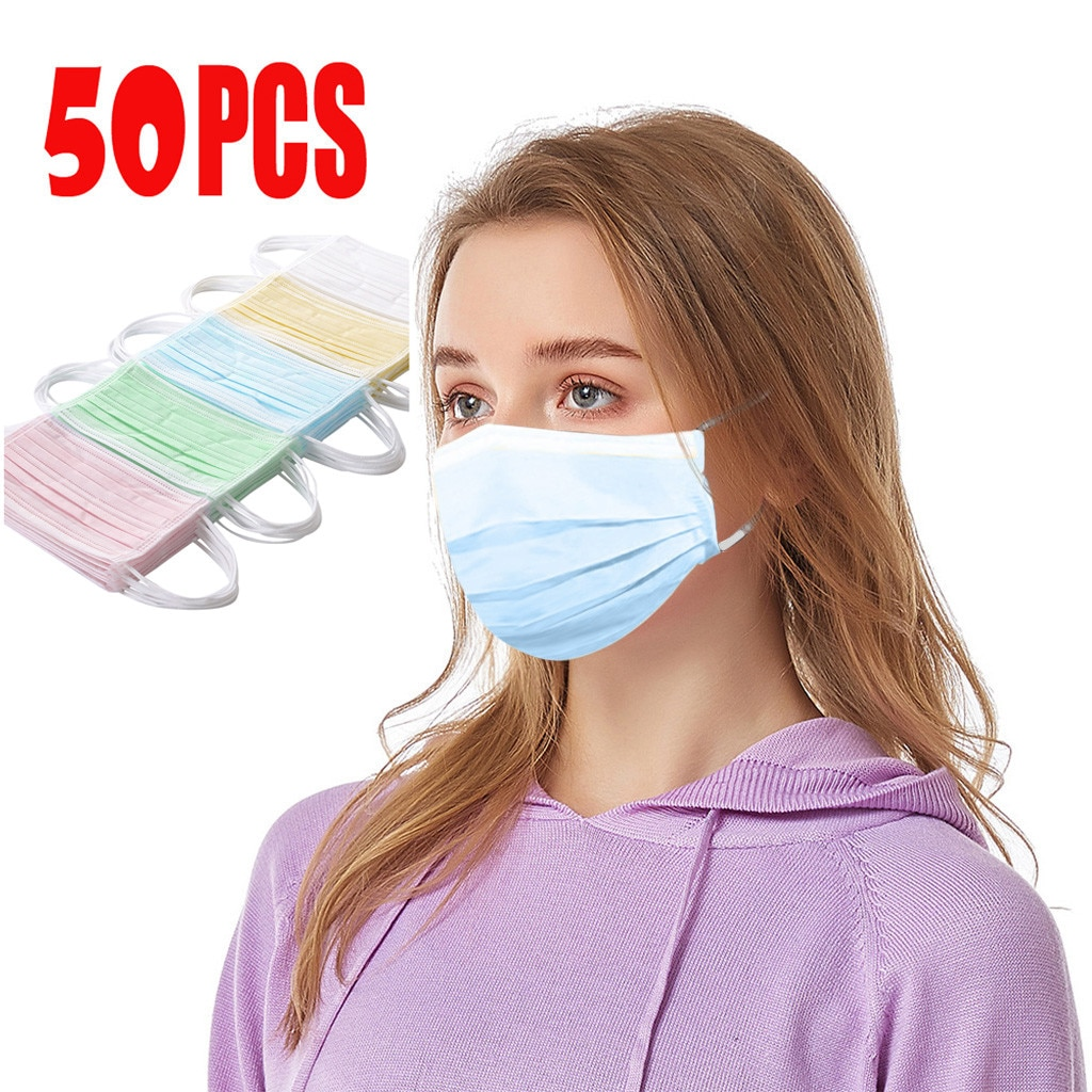 50pcs Colors Good Quality Disposable 3-ply Breathable Face Ma Sk For Lips Care Ear Loops Disposable