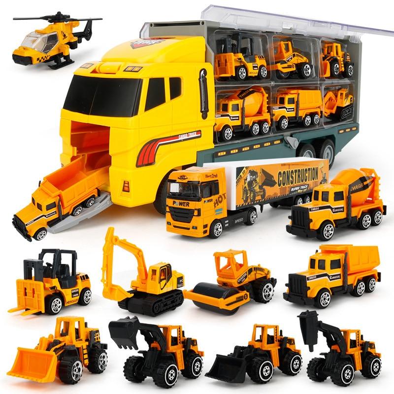 شاحنات البناء الكبيرة مجموعة سبائك صغيرة قوالب طراز السيارة 1:64 مقياس اللعب المركبات الناقل شاحنة الهندسة سيارات لعب للأطفال
