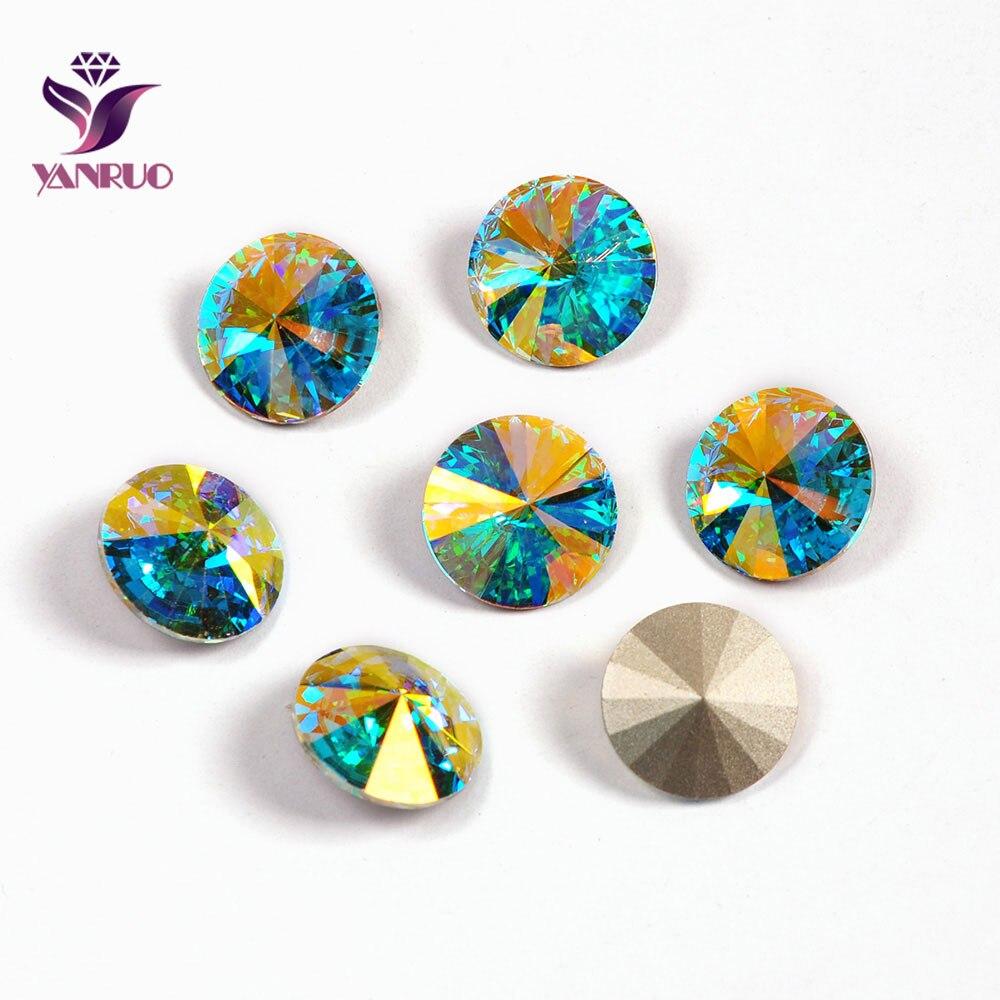 YANRUO 1122 All Sizes AB Rivoli Glass Stones DIY Crafts Strass Point Back Sew On Rhinestones For Needlework Accessories