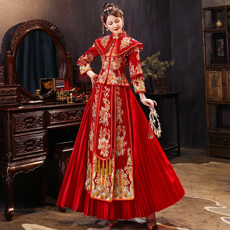 فستان زفاف صيني تقليدي ، تطريز ذهبي ، للنساء ، تشيباو ، شيونغسام ، جودة عالية ، أنيق