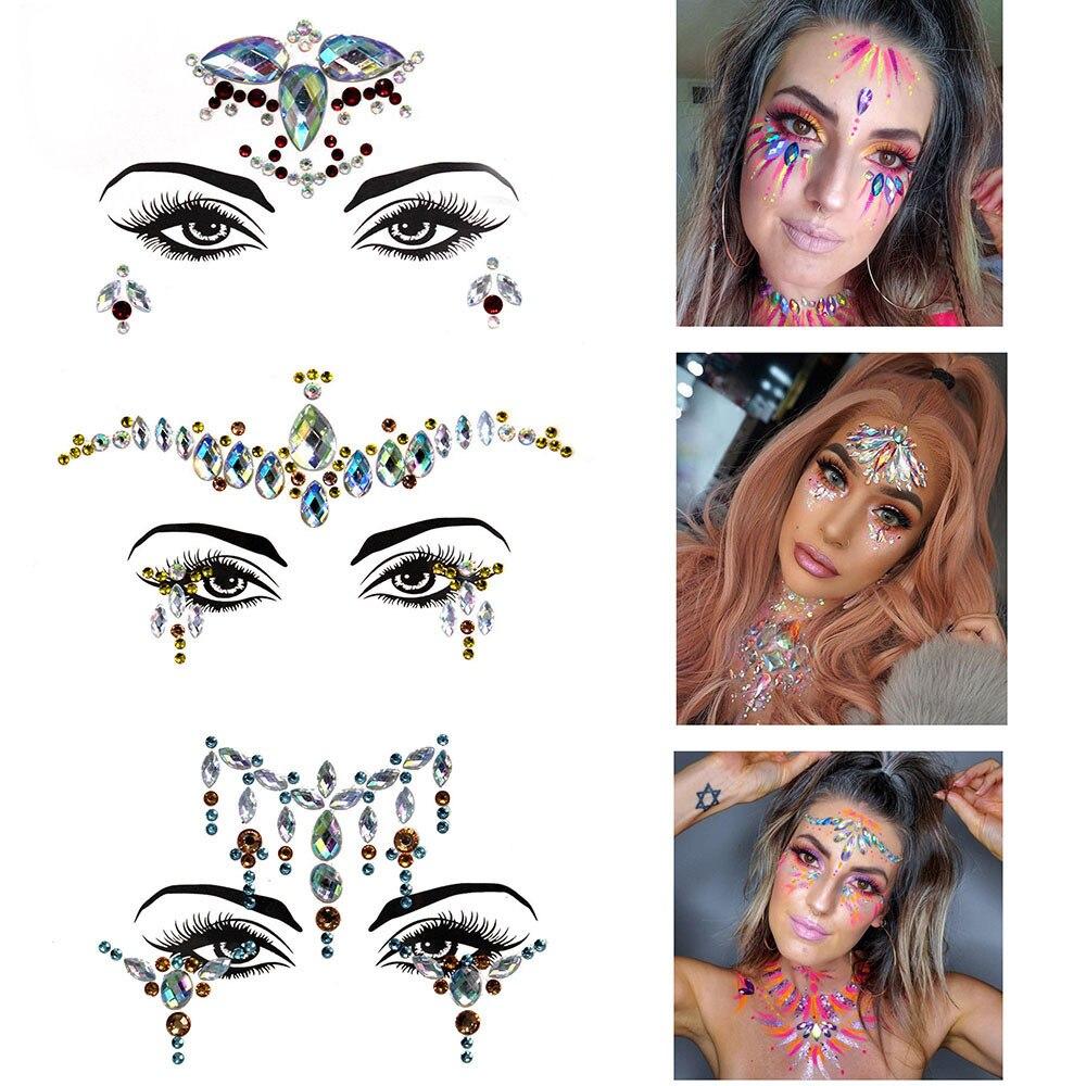 Nuevo Ins gemas para la cara Diamante de imitación tatuaje temporal joyas para la cara Festival Música fiesta discoteca danza cuerpo maquillaje brillo pegatinas