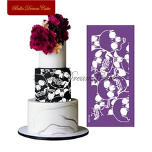 Halloween Schedel Ontwerp Mesh Stencil Lace Fondant Mold Cake Decorating Tools Voor Cake Grens Chocolade Mould Bakvormen MST-96