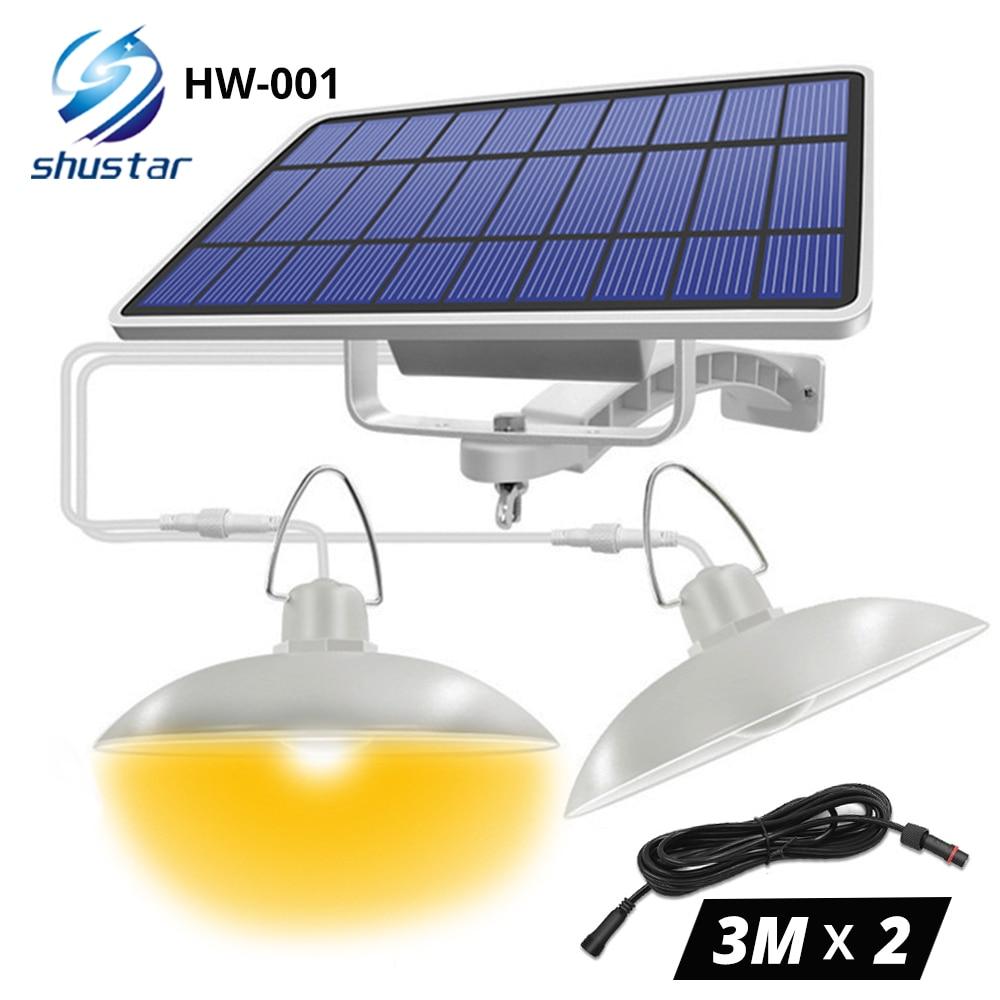 IP65 مقاوم للماء مزدوج رئيس الشمسية قلادة ضوء في الهواء الطلق مصباح للطاقة الشمسية في الأماكن المغلقة مع كابل مناسبة للفناء ، حديقة ، داخلي الخ...