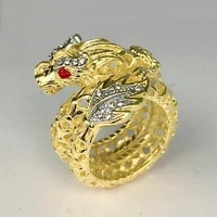 animal dragon shape hollow ring mens ring new fashion metal crystal inlaid ring accessories party jewelry size 6 10