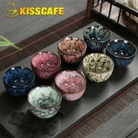 8 pcsset chinese ceramic tea cup ice cracked glaze cup kung fu teaset small porcelain tea bowl teacup tea accessories drinkware