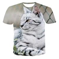 3d printing short sleeved cat cartoon game round neck t shirt fashion mens summer loose student shirt original pattern