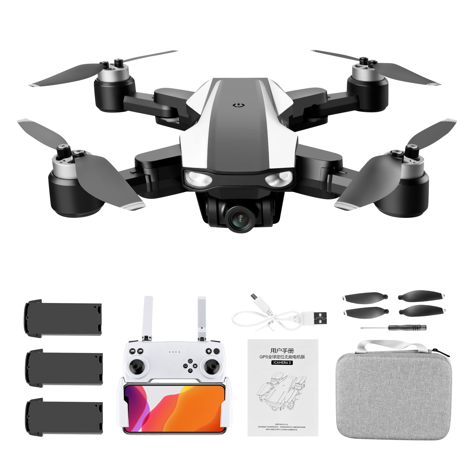 ZK30 Drone 6KHD S105 Double Camer GPS Professional 5G Wifi Brushless Motor Drone Flight 30 Min Rc Drone Stabilier Distance 1.2km enlarge