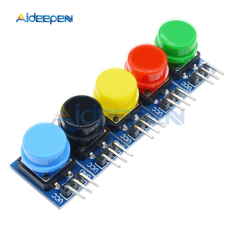 5 piezas 12X12MM Módulo de llave grande Módulo de botón de luz MÓDULO DE Interruptor táctil con sombrero de alto nivel salida para Arduino Raspberry Pi 3