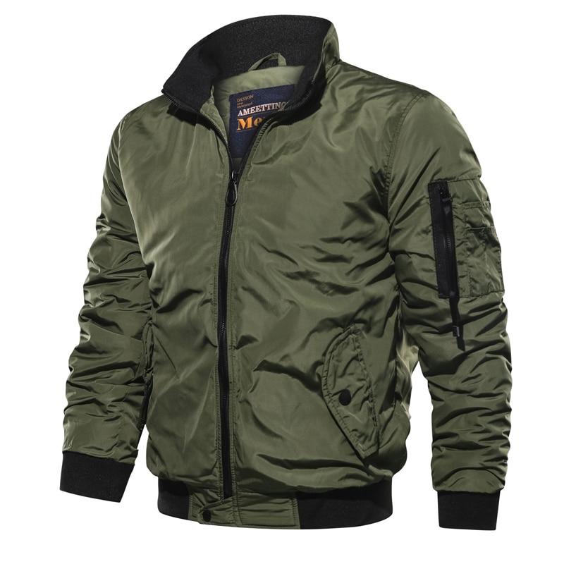 Бомбер мужской тонкий на молнии, повседневная куртка-пилот в стиле милитари, приталенный крой, пальто с воротником-стоечкой, весна-осень