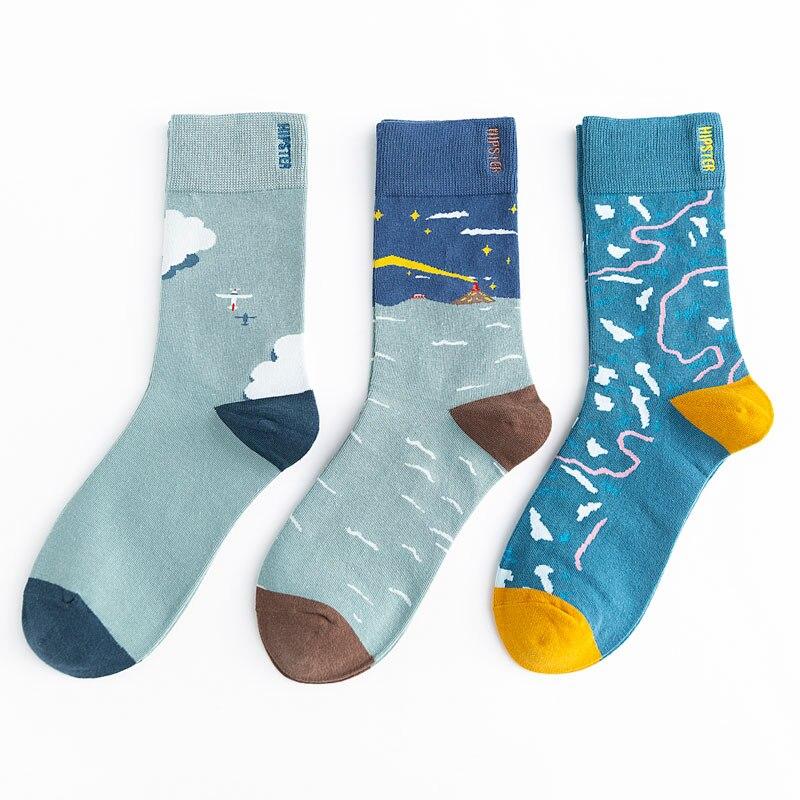 Unisex Malerei Stil Männer Socken 100 Baumwolle Harajuku Bunte Volle Socken Männer Standard 1 Paar Größe 35-43