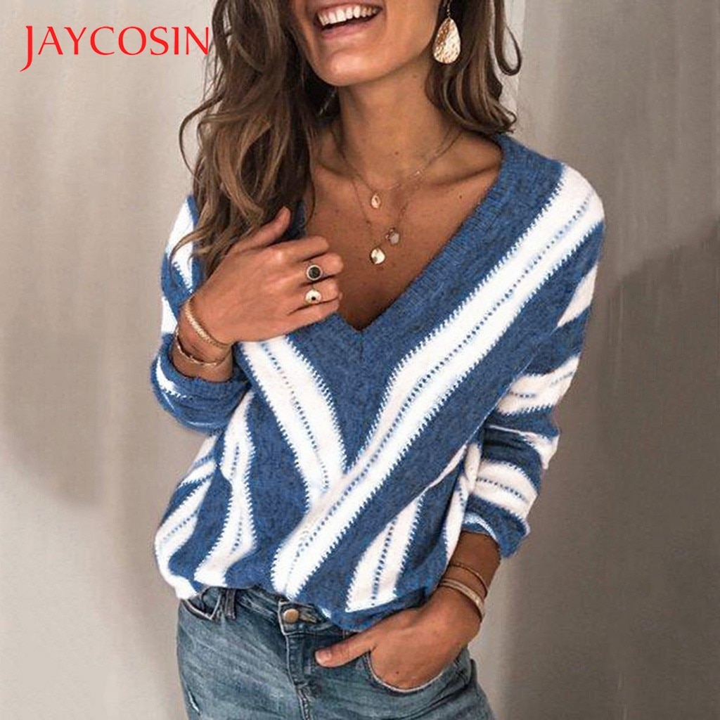 Jersey Jaycosin para mujer, cuello en V, Tops de punto para otoño e invierno, Jersey informal de manga larga, Jersey cálido para mujer, Jersey, Blusas 5XL