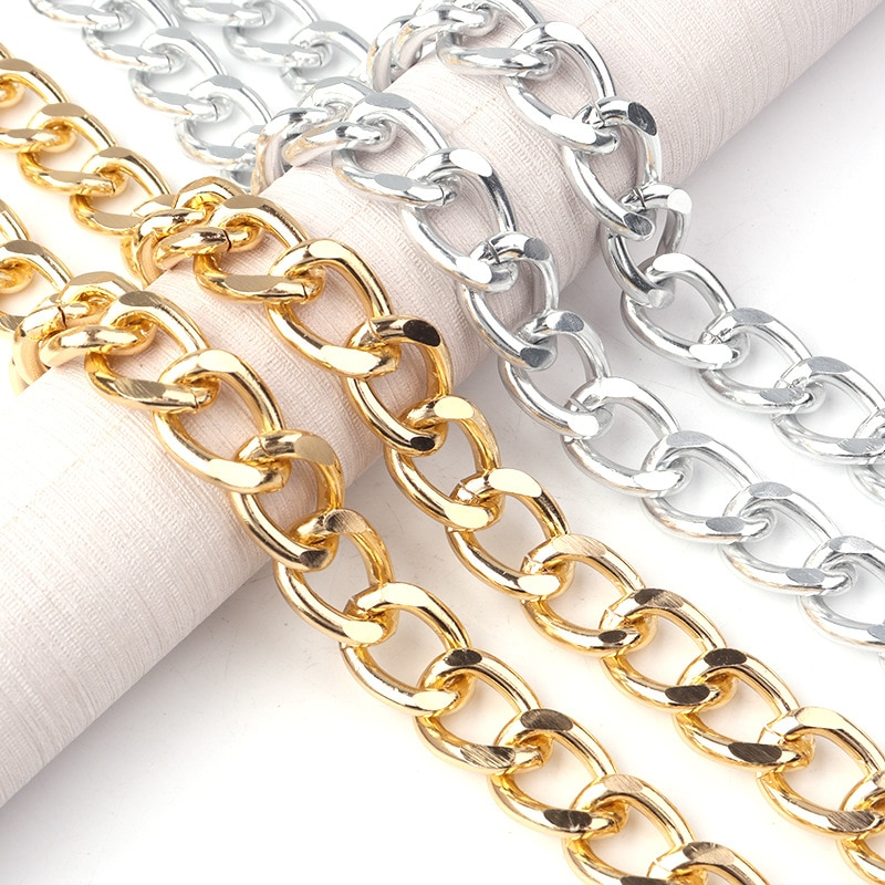 5m DIY Aluminum Chains 19.5x15x3.5mm Chains Wholesale Bags Pendant Necklace Chain Gold Plated Sliver Color Chain Manual Material