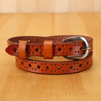 elegzo womens belt high quality retro hollow out jeans cowskin belt womens pin buckle leather waistband hot selling