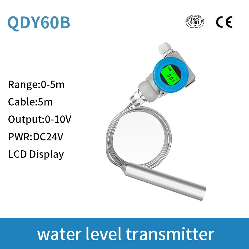 LCD Display High Temperature Water Level Sensor 0-10v output signal for Arduino With SS304 housing and SS316 Core