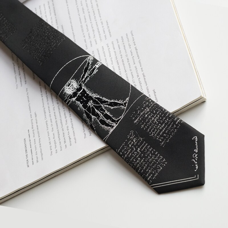 Free Shipping New Male men's Original design printed students personality gift necktie DaVinci Code Cool College Style black tie