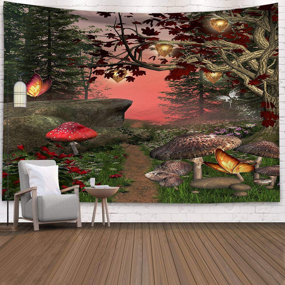 Tapiz psicodélico de setas, alfombras para colgar en la pared, tela de poliéster de lijado de Tarot de brujería, decoración Hippie India, mantas gitanas