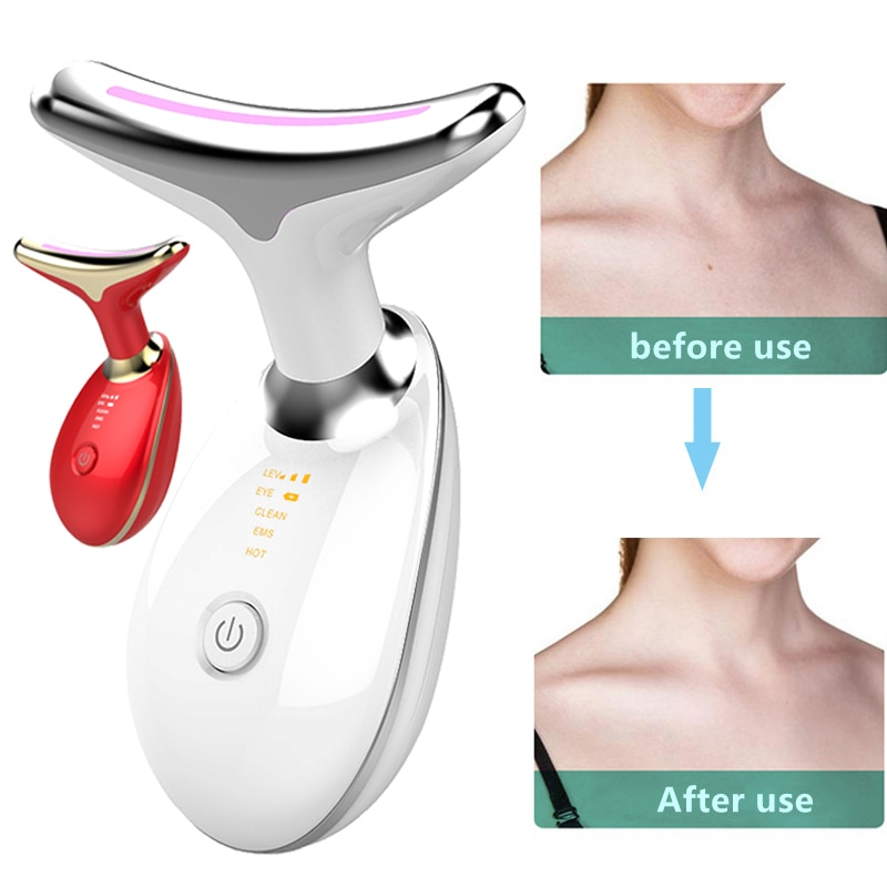 Neck Facial Beauty Equipment 3-color LED Photon Therapy Neck Massager Skin Tightening Reduction Doub