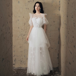 Evening Gown O-Neck Illusion A-Line Ruched Evening Dress 2020 Short Sleeve Lace Up Evening Dresses for Women cheongsam