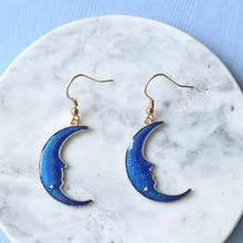 Trendy Big Blue Moon Dangle Earrings for Women Girl Fashion Jewelry Elegant Drop Earing Wedding Enga